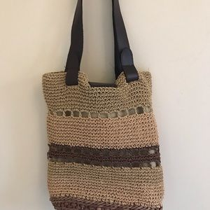 Vintage Straw Woven Purse Tote